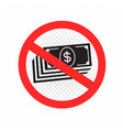 no cash sign symbol icon vector image vector image