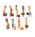 people carrying heavy suitcases set young man and vector image vector image
