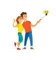 people taking selfie couple and smartphone vector image vector image