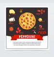pepperoni pizza label pizzeria menu whole hot vector image