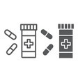pills line and glyph icon pharmacy vector image vector image