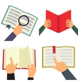 Reading book flat icon set vector image vector image