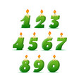 set colorful birthday candle numbers wick and vector image vector image