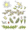 set flowers branches sun bird butterfly vector image vector image