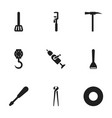 set of 9 editable apparatus icons includes vector image