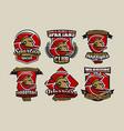 set of colorful logos emblems spartan helmet vector image