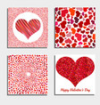set of four backgrounds with red hearts vector image vector image