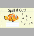 spell english word crown fish vector image vector image