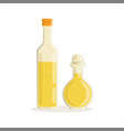 sunflower or olive oil glass bottles vector image