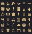sweet dish icons set simple style vector image vector image
