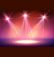 three spotlight on stage with smoke and light vector image vector image