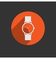 Trendy wristwatch icon with long shadow vector image vector image