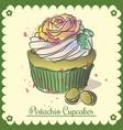vintage card pistachio cupcakes vector image vector image