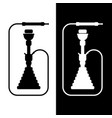 white and black silhouette hookah vector image vector image