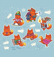 winter sticker set of foxes characters in cartoon vector image vector image