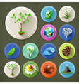 Nature and Ecology long shadow icon set vector image