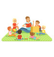 teacher and kids in big classroom at lesson vector image