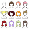 women hairstyles set girl haircut avatar vector image