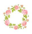 watercolor wreath of flowers on white vector image