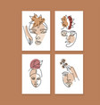 abstract female portraits set contemporary art vector image vector image