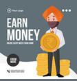 banner design earn money vector image vector image