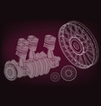 car engine and wheels vector image