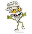 cartoon funny green egyptian mummy boy character vector image
