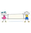 cartoon people holding blank placard with copy vector image vector image