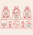 christmas bags and tags set bags vector image vector image