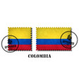 colombia or colombian flag pattern postage stamp vector image
