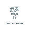 contact phone in hand with chat line icon vector image vector image