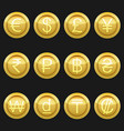 currency coins metallic golden with highlights set vector image vector image
