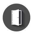door icon exit icon open door with long shadow vector image