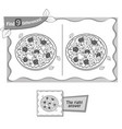find 9 differences game pizza black vector image vector image
