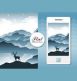 flat landscape with deer vector image vector image