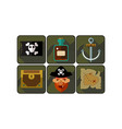 flat set of pirate game icons black flag vector image
