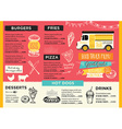 Food truck party invitation Food menu template vector image vector image