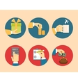 Hands with object icons vector image vector image