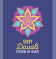 happy diwali festival mandala flowers decoration vector image vector image
