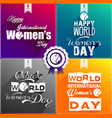 happy women day flat design greeting card vector image vector image