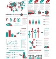 INFOGRAPHIC DEMOGRAPHICS WEB ELEMENTS RED vector image