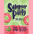 invitation template for summer open air party with vector image vector image