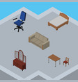 isometric furniture set of couch office drawer vector image vector image