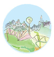 Landscape with village and mountains vector image vector image