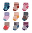 little knitting socks set Children theme vector image