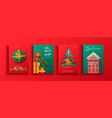 merry christmas paper cut gift ornament card set vector image