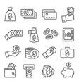 money line icons set on white background vector image