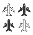 monochromatic plane icon in different variants vector image vector image