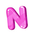 N pink glossy bright english letter kids font