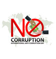 no corruption sign day with hand businessman vector image vector image